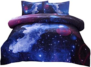PomCo Galaxy Comforter Full (79x90 Inch), 3Pcs(1 Galaxy Comforter & 2 Pillowcases) 3D Space Outer Sky Microfiber Bedding Set, Universe Cloud Galaxy Comforter Set for Boy Girl Teen Kid