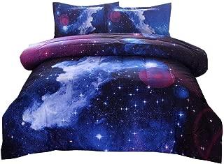 PomCo Galaxy Comforter Full (79x90 Inch), 3Pcs(1 Galaxy Comforter & 2 Pillowcases) 3D Space Outer Sky Microfiber Bedding Set, Universe Cloud Galaxy Comforter Set for Boy Girl Teen Kid
