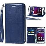 for Asus Zenfone 3 Deluxe ZS570Kl Hanman Genuine Leather Wallet Flip Case Cover for Asus Zenfone 3 Deluxe ZS570Kl (Dark Blue)