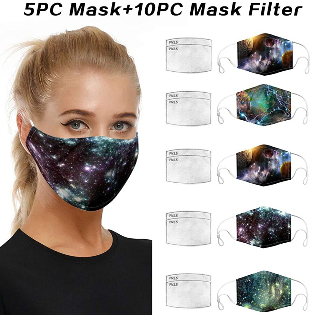 Eaylis 5 Stück Mundschutz 3D Druck Multifunktionstuch Maske Print Atmungsaktive Baumwolle Stoffmaske Waschbar Mund-Nasenschutz Bandana Halstuch Mit 10 Filters für Herren Damen B-3