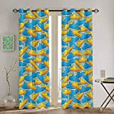 DONEECKL Yellow Submarine Premium Blackout Curtains Pop Art Style Retro Underwater Theme Classical Submarine Design Print for Living Room or Bedroom W55 x L63 Inch Yellow and Blue