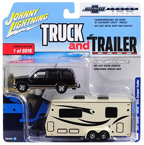 "1997 Chevrolet Tahoe Dark Cherry with Camper Trailer Limited Edition to 6,016 pieces""Truck and Trailer"" Series 2""Chevrolet Trucks 100th Anniversary"" 1/64 Diecast Model by Johnny Lightning JLSP016"