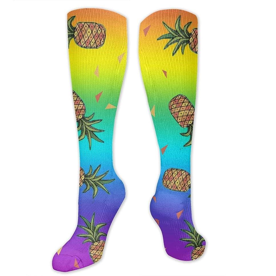 ローブ見ました細胞QRRIYレインボーLGBTプライドアロハトリプルパイナップル- 3 D抗菌アスレチックソックス圧縮靴下クルーソックスロングスポーツ膝ハイソックス少年少女キッズ幼児用