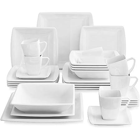 MALACASA, Série Blance, 30pcs Services de Complets, Vaisselles Porcelaine 6 Assiettes Plates, 6 Assiettes Creuse à Soupe, 6 Assiettes à Dessert, 6 Tasses avec 6 Soucoupes Plat pour 6 Personnes
