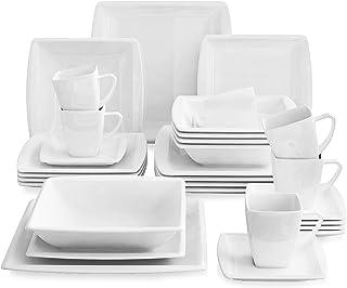 MALACASA, Série Blance, 30pcs Services de Complets, Vaisselles Porcelaine 6 Assiettes Plates, 6 Assiettes Creuse à Soupe, ...