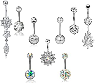 SENNI 9 Pcs 14G Stainless Steel Dangle Belly Button Rings Screw Navel Barbell Piercing Jewelry for Women