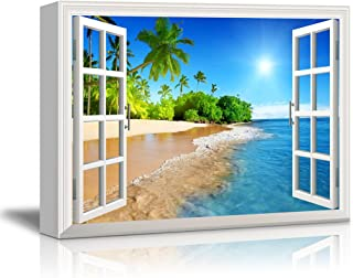 wall26 Canvas Print Wall Art - Window Frame Style Wall Decor - Beautiful Tropical Beach with White Sand,Clear Sea and Palm Trees Under Blue Sunny Sky - 32