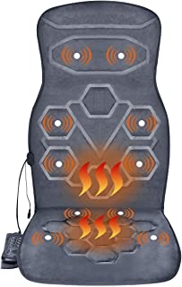 Relief Expert Back Car Seat Massager Cushion Chair Pad with Heat 10 Vibrating Motors for Office Auto Home