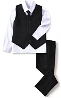 YuanLu 4 Piece Boys' Formal Suit Set with Vest Pants Dress Shirt and Tie