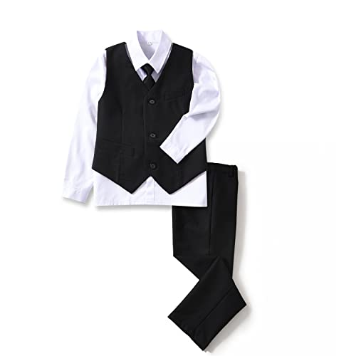 1dd44327 YuanLu 4 Piece Boys' Formal Suit Set with Vest Pants Dress Shirt and Tie  Black