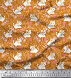 Soimoi Gelb Baumwolle Ente Stoff Wolle & Katze Kinder Stoff