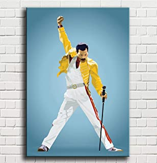 Lihuaiart Freddie Mercury Queen,Art Home Wall Decorations for Bedroom Living Room Oil Paintings Canvas Prints-845 (Framed,12x18inch)