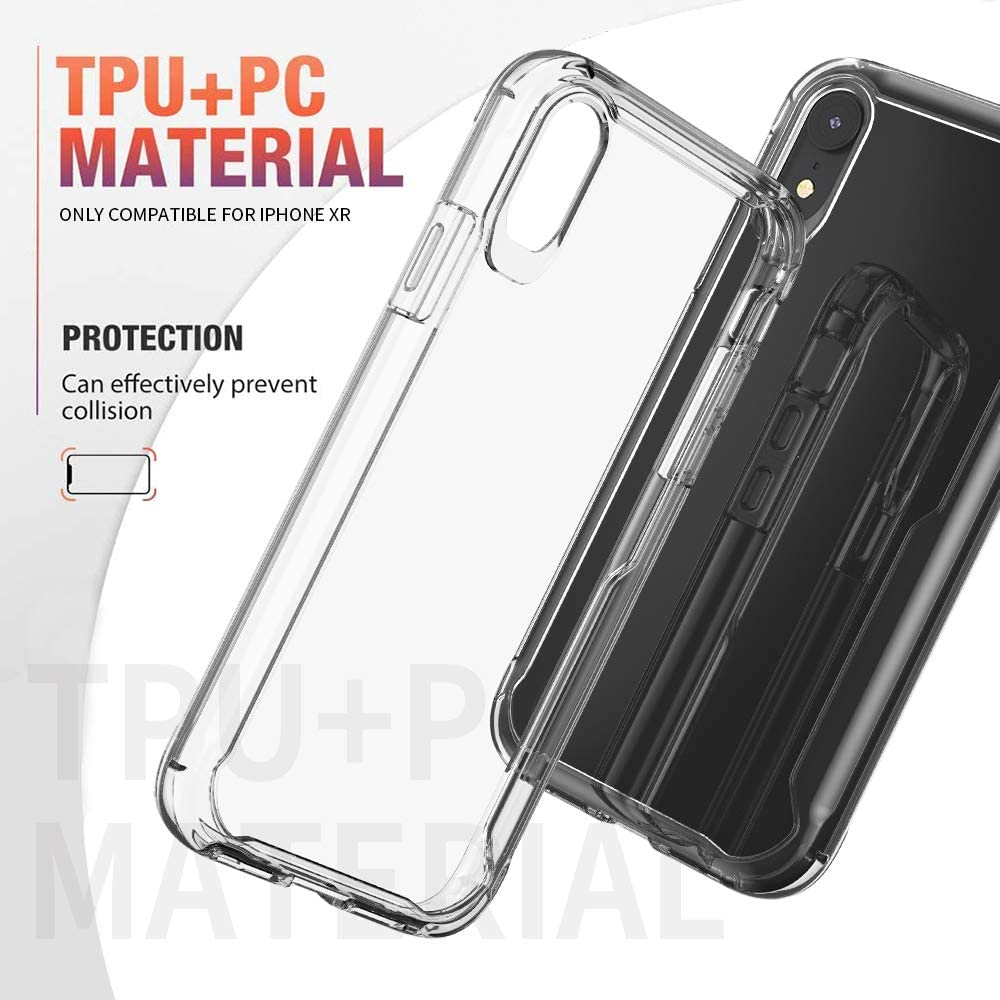GPFILE Clear iPhone XR Case,iPhone XR Protective Case Cover Shockproof Case with TPU Soft Bumper for iPhone XR 6.1