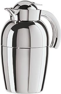 Oggi (6515.0) Senator Carafe with Press Button Top and Glass Liner, 1-Liter, Silver