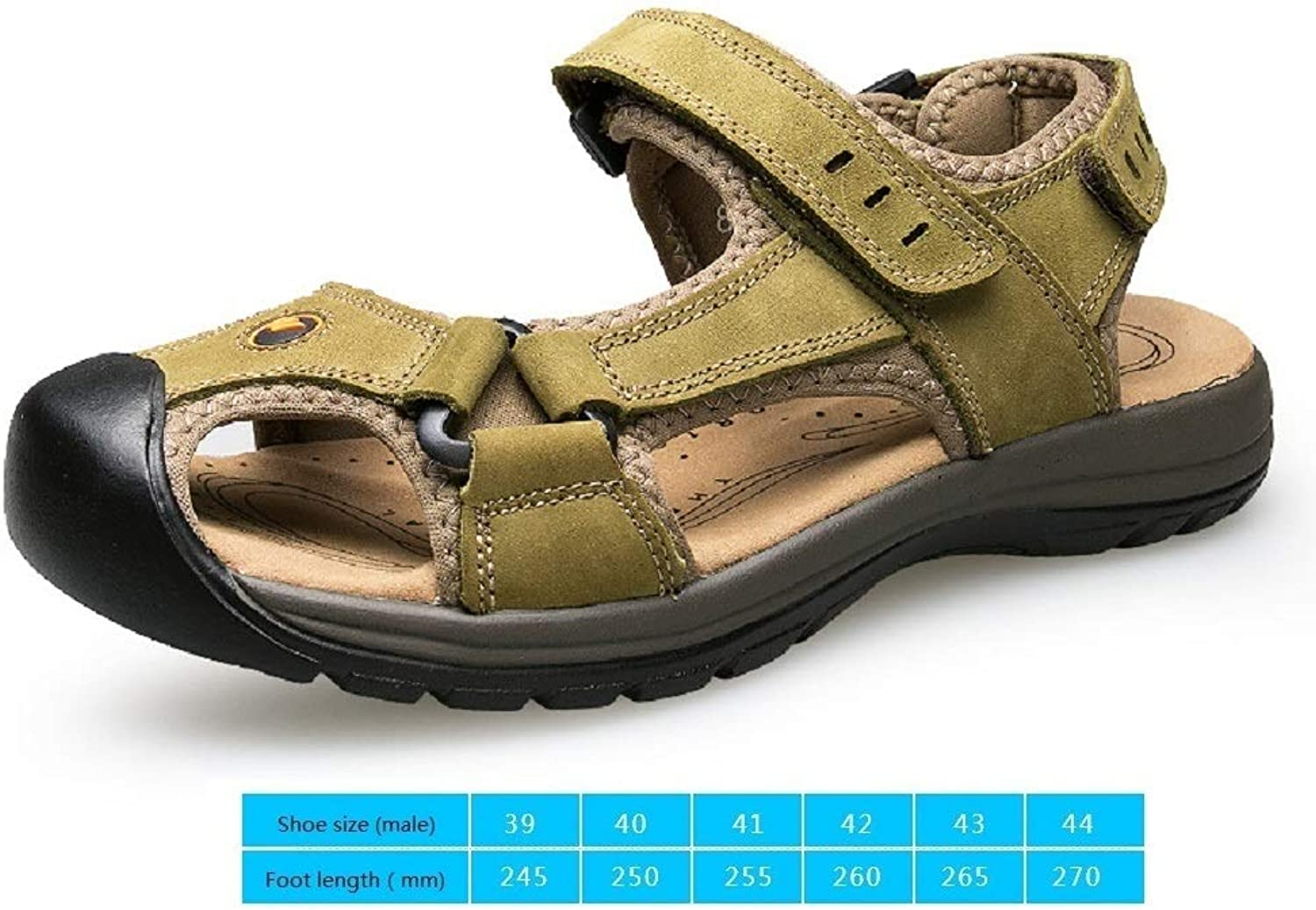 LZK Summer men's leather sandals Outdoor breathable beach shoes Baotou sports sandals Anti-collision predection toes null