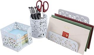 EasyPAG Carved Hollow Flower Pattern 3 in 1 Desk Organizer Set - Letter Sorter, Pencil Holder and Stick Note Holder,White