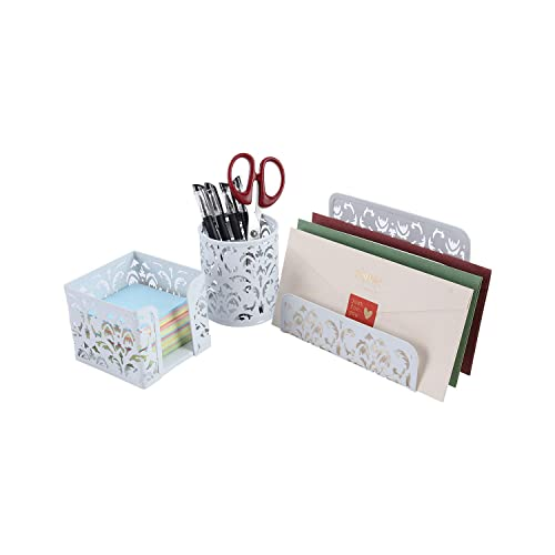 EasyPAG Carved Hollow Flower Pattern 3 in 1 Desk Organizer Set - Letter Sorter, Pencil Holder and Stick Note Holder,White
