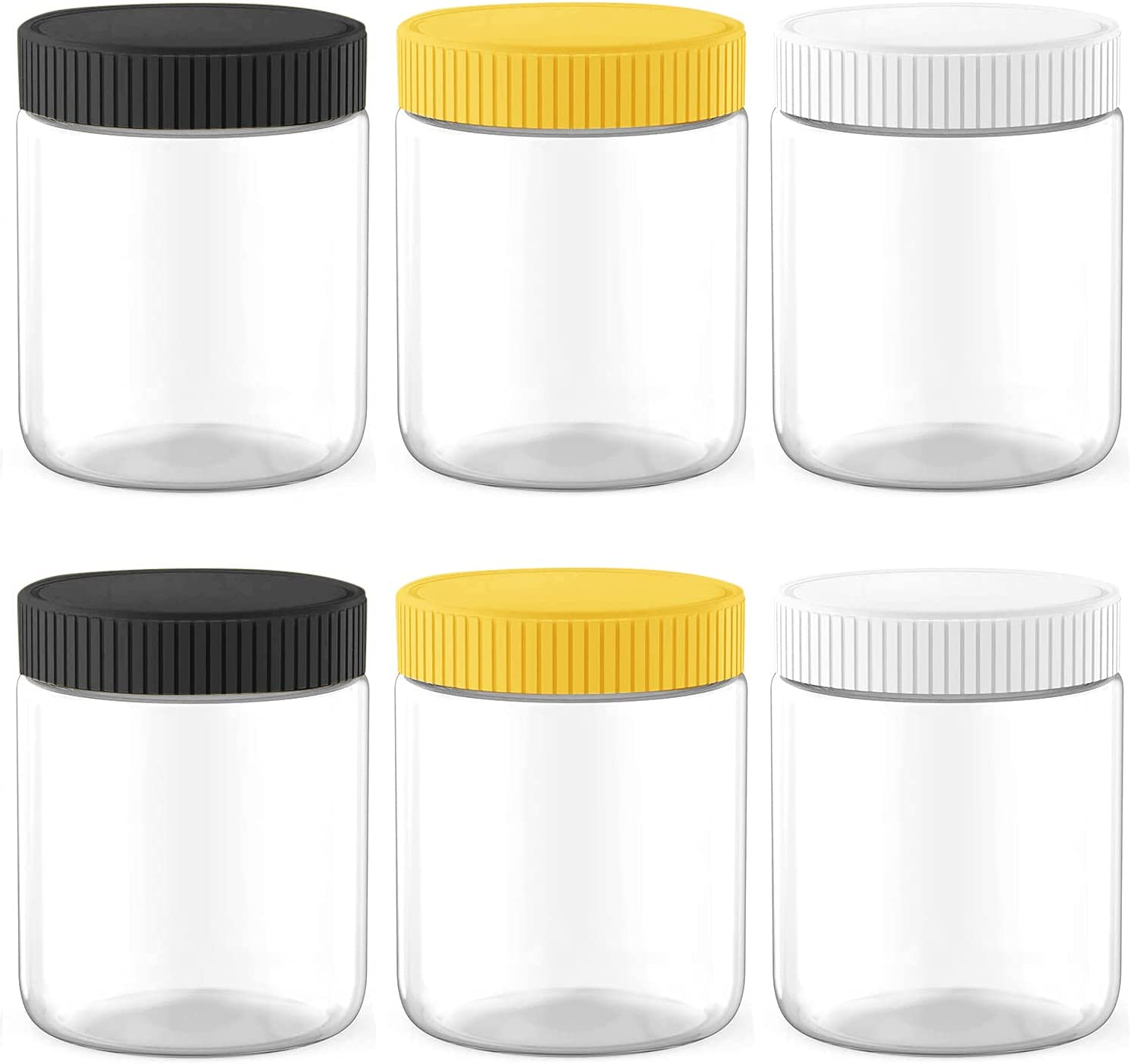 MANSHU 6 Pack 8 Oz Plastic Food Storage Jars, Empty Food Storage Containers, for Food Storage.