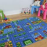 The Rug House Cubrepisos para Salas de Juego de niños. con Dibujos de Pueblo, Casas y Calles. - 3