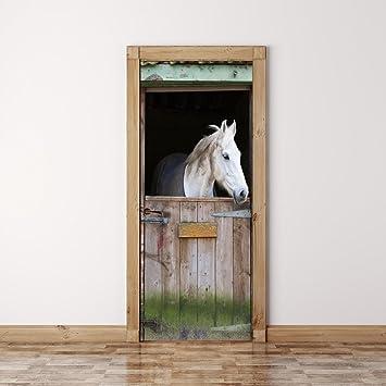 Door Mural Horse Horses View Effect Decal Mural Home Decor Window Sticker Wallpaper Home Living Vinyl Art Bedroom Lounge Kitchen Nursery 39