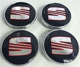4x Seat Rojo Cromo Negro Logo 60mm Buje tapas Buje Tapa Tapacubos Llanta Tapa Cilindro de Juego de tapas fr Sport Performance Arosa Ibiza Leon Alhambra Altea Mii Toledo y otros modelos
