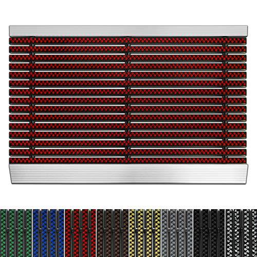 etm Fußmatte mit Aluminium Rahmen für außen | Elegante Alumatte mit robusten Bürsten wetterfest | 3 Größen (60 x 90 cm Rot)