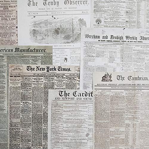 BLOUR 8sheets Retro Englisch Buchseite Hintergrundmaterial Vintage Englisch Zeitungen Deko Aufkleber DIY Scrapbooking Planer Tagebuch Album