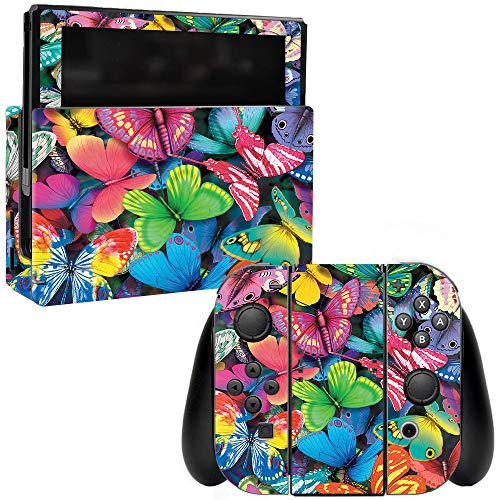 MightySkins Skin Compatible with Nintendo Switch - Butterfly Party   Protective, Durable, and Unique Vinyl Decal wrap Cover   Easy to Apply, Remove, and Change Styles   Made in The USA