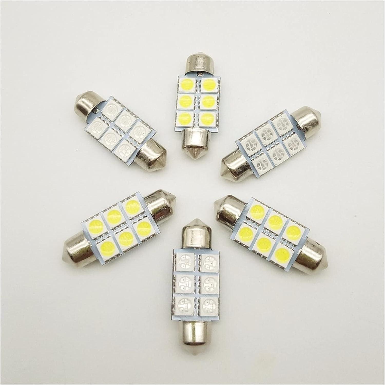 ZXB 10 unids Festoon 5050 6SMD 31/36 / 39mm / 41mm Coche LED Luz 24v12V Blanco/Azul/Verde/Rojo/Amarillo FT C5W Puerta Interior de Estilo (Color Temperature : 36MM 24V, Emitting Color : White)