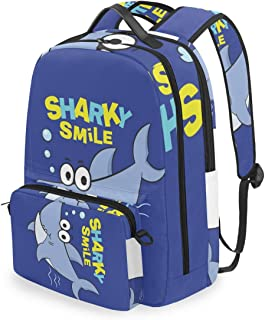Mochila con bolsa de cruz desmontable Set Cute Cartoon Shark Computadora Mochilas Bolsa de libro para viajes Senderismo Camping Daypack