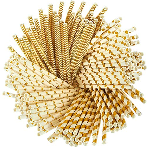 Depory cannucce di Carta Confezione da 150 cannucce Divertenti Color Oro con Strisce Corallo Pois Zig Zag e Stelle