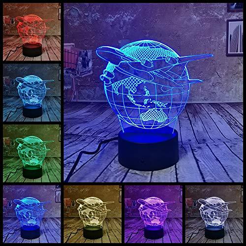 RUMOCOVO® Avión tierra lámpara LED 3D luz nocturna USB LED ilusión atmósfera visión lámpara de mesa para niños dormitorio decoración novedad regalo