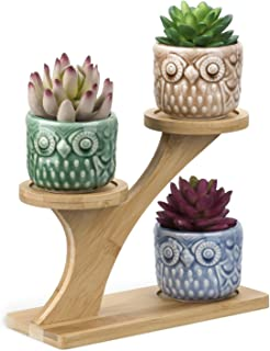 OUSHINAN Mini White Ceramic Owl Garden Pots Decorative Nursery Succulent Planters with 3-..