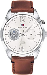 Tommy Hilfiger Deacan Men's Silver Dial Leather Band Watch - 1791550