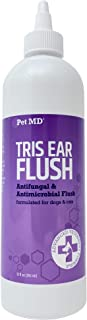 Pet MD Veterinary Tris Flush Cat & Dog Ear Cleaner - Dog Ear Flush and Infection Treatment with Ketoconazole - 12 oz