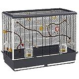 Ferplast Vogelheim für Kanarienvögel, Sittiche und kleine Exoten, Maße: 87 x 46,5 x 70 cm, schwarz