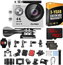AKASO EK7000 Ultra HD 4k WiFi 170 Degree Wide Waterproof Sports Action Camera Silver (EK7000SL) 32GB MicroSD High-Speed Memory Card & 1 Year Extended Warranty