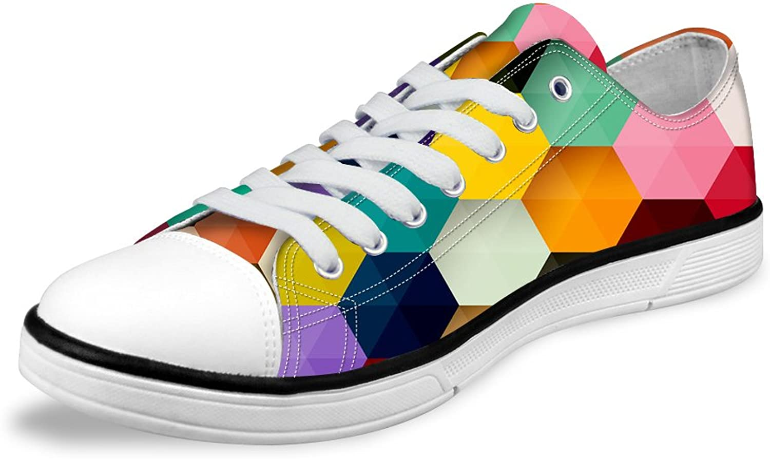 FOR U DESIGNS colorful Plaid Lightweight Lo-top Lace Up Casual Female Women shoes US 11
