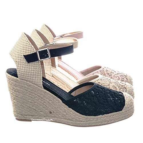 Espadrille Platform Wedge w Floral Crochet Lace w Sequins Shoes