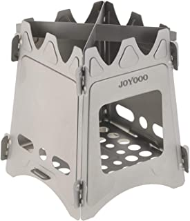 JOYOOO Ultralight Camping Stove Weighs 7.3 OZ, 100% Pure Titanium Wood Burning Camping Stove Portable & Foldable for Camping, Backpacking, Hiking, and Bushcraft Survival, Stronger & Lighter VS Steel