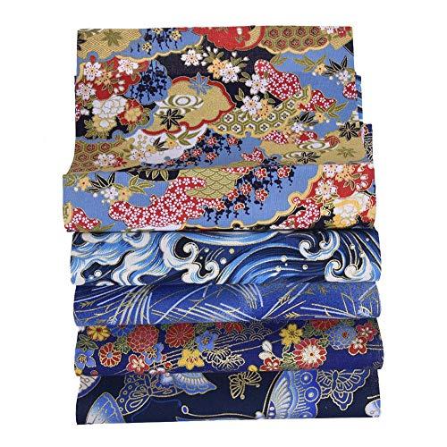 starshop 5 unidades de 50 cm x 50 cm de tela japonesa de cerezo con diseño floral de color bronceado, tejido de edredón precortado para coser patchwork y coser