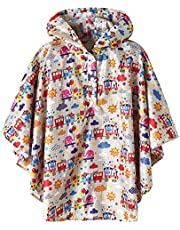 Summer Mae Chubasquero Poncho de Lluvia Niño Niña,Poncho Impermeable Colorado Infantil con Capucha y Botones (Estatura 100cm-160.5cm)