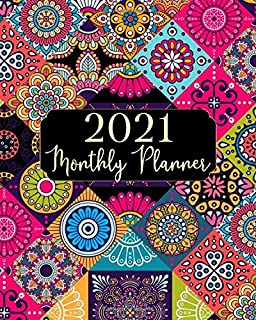 2021 Monthly Planner: Beauty Mandala One Year 12 Months Monthly Calendar Agenda With Notes January 2021 to December 2021 S...