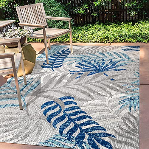 JONATHAN Y Tropics Palm Leaves Indoor/Outdoor Gray/Blue 5 ft. x 8 ft. Area Rug, Outdoor, Easy Cleaning, For High Traffic, Kitchen, Living Room, Backyard, Non Shedding