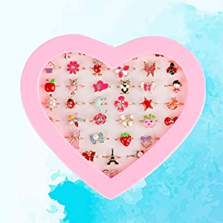 TOYANDONA 36pcs Children Toys Rings Princess Box Creative Pretend Play Diamond Rings Accessory for Dress Up Girls Party Favors Little Kids