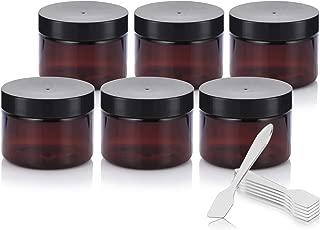 Amber PET Plastic (BPA Free) Refillable Low Profile Jar - 3 oz (6 Pack) + Spatulas