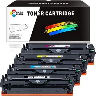 COLORUNION 4 Pack Compatible Toner Cartridge Replacement 410A 410X CF410A CF411A CF412A CF413A Toner for HP Printer Color Laserjet Pro M452dw MFP M377dw M477fdn M477fdw (Black/Cyan/Yellow/Magenta)