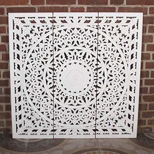 Orientalisches XXL Wandbild Mandala Hawa 3tlg 110x110cm weiß braun handgeschnitzte Wand-Dekoration aus MDF zum Hängen & Stellen im Shabby Chic | Kunsthandwerk | Fensterdeko & Weihnachtsdeko | MD1039