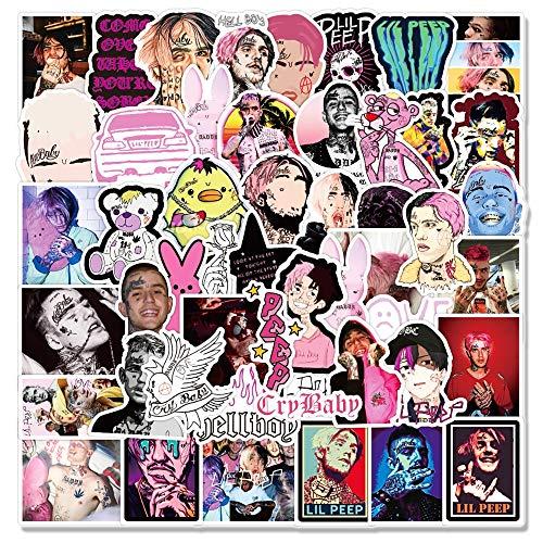 Paquete de Pegatinas de Graffiti de Rapero Lil Peep para portátil, Motocicleta, monopatín, Ordenador, Guitarra, Equipaje, calcomanía, Juguete, 50 Uds.