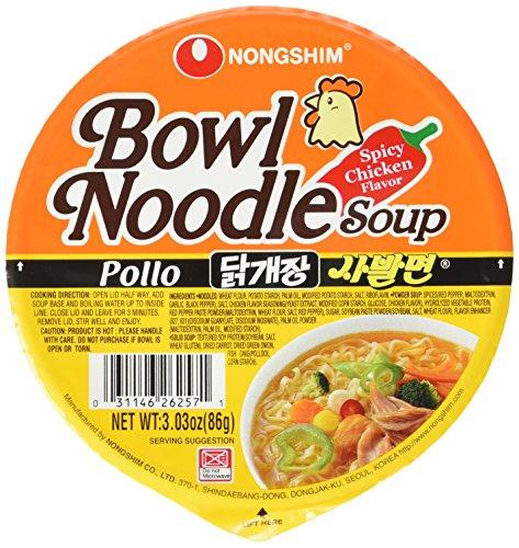 Nong Shim Instantnudeln Pollo Bowl Noodle Soup – Koreanische Ramen Nudelsuppe - schnelle Zubereitung – 12er Vorteilspack à 86g